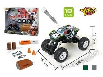 Stavebnice Auto 4WD 18ks, měřítko 1:32 - mix zelené nebo šedé