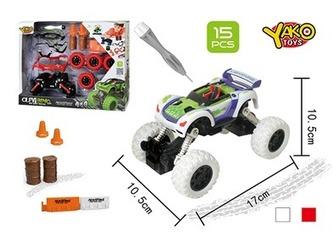 Stavebnice Auto 4WD 15ks, měřítko 1:32 - mix bílé nebo oranžové