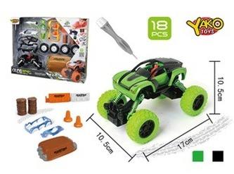 Stavebnice Auto 4WD 18ks, měřítko 1:32 - mix zelené nebo černé