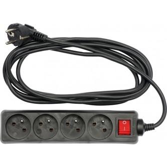 Kabel prodlužovací 5 m vypínač 4 zásuvky