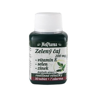 MedPharma Zelený čaj 200 mg + vitamín E + selen + zinek 30 tbl. + 7 tbl. ZDARMA
