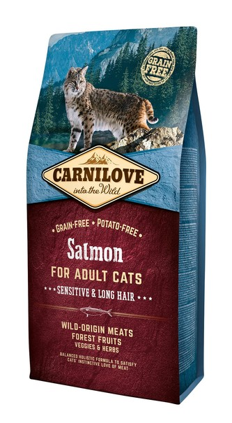Carnilove Cat Grain Free Salmon Adult Sensitive&Long Hair 6kg