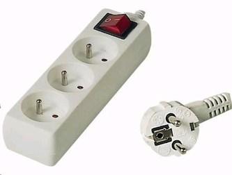 PREMIUMCORD Prodlužovací přívod 230V 2m, 3 zásuvky + vypínač, bílá