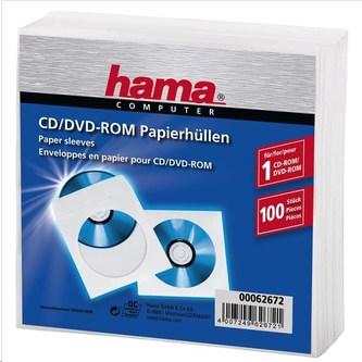 Hama ochranné obaly na CD/DVD, papierové, biele, 100 ks