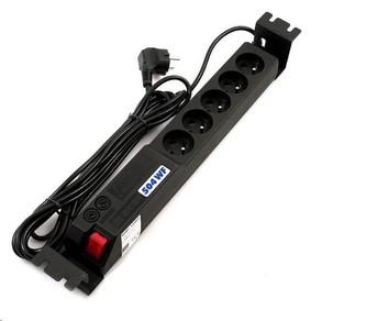"""19\"""" rozvodný panel ACAR 5x230V, ČSN, kabel 3m, přepěťová ochrana, vč. montážních držáků do racku"""