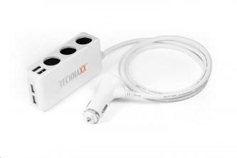 Technaxx nabíječka do auta, 4x USB port (2x 1A, 2x 2,4A), 3x zásuvka 12 V