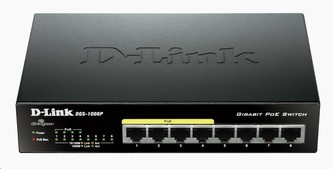 D-Link DGS-1008P 8-port Gigabit Desktop Switch, 4 porty jsou PoE+, PoE budget 68W