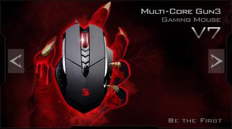 A4tech BLOODY V7 herní myš, až 3200DPI, V-Track technologie, 160KB paměť, USB, CORE 3, kovové podložky