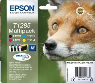 "EPSON ink Multipack \""Liška\"" 4-colours T1285 DURABrite Ultra Ink"