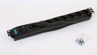 """TRITON 19\"""" rozvodný panel 8x230V - 2m, bleskojistka, černý"""