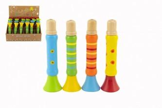 Píšťalka dřevěná barevná 12 cm 1 ks / 4 různé barvy 18m+