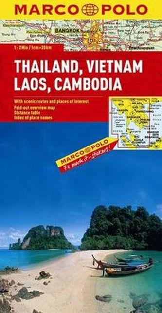 Tajlandia Wietnam Laos Kambodża Mapa drogowa 1:2 000 000