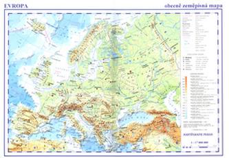 Evropa Obecně zeměpisná a obrysová mapa